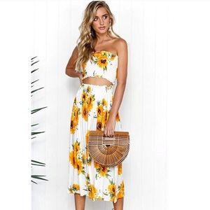 Sunflower Maxi Two Piece Tube Top Set